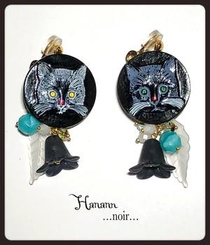 チェコガラス猫(黒)♥︎イヤリング