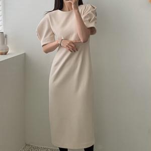 【ワンピース】おしゃれ度アップ 韓国風 ファッション パフスリーブ スリム 気質アップ スリット ロングワンピース42940490