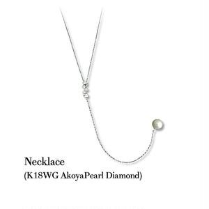 jewelG <Chic> ダイヤモンド&アコヤパール ネックレス K18WG