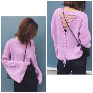 SALE!【即納:送無】4color Back Lace up Long Sleeve Knit レースアップ ロングフレア袖  ニット プチプラ 送料無料