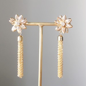 Gold flower with gold chain tassel earrings