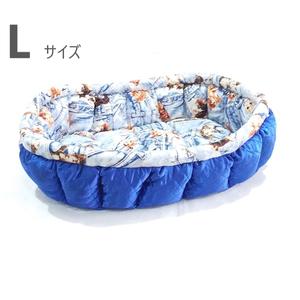 ふーじこちゃんママ手作り ぽんぽんベッド (サテンブルー・デニム風柄) Lサイズ