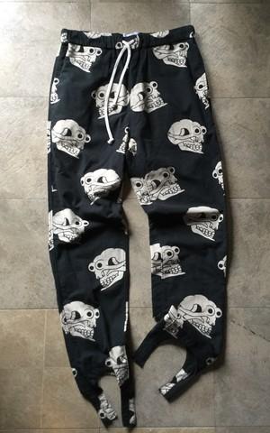 """Black Weirdos"" Skull-Pattern Flannel Pants ( Black / L )"