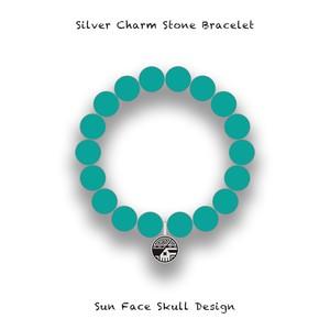 Silver Charm Stone Bracelet / Sun Face Skull Design 001 ( Turquoise )