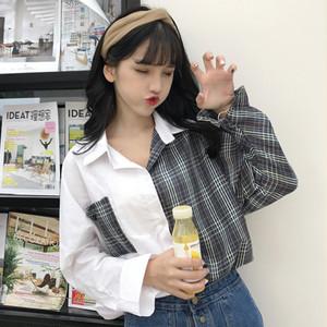 【トップス】絶対可愛いカジュアルチェック柄長袖POLOネックシングルブレストシャツ22189902