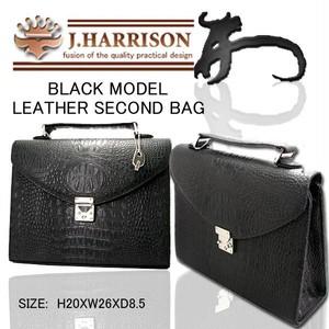 【送料無料】J.HARRISON牛革(床皮)クロコ型押し・紳士用セカンドバック JWT-011
