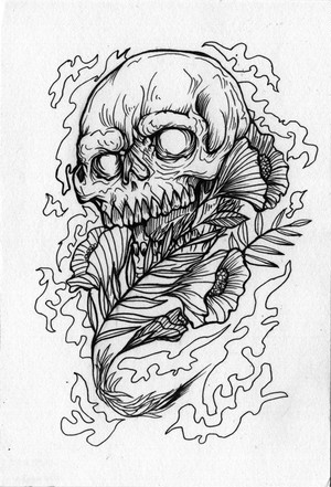 """""""Skull"""" 原画(ハガキサイズ)"""