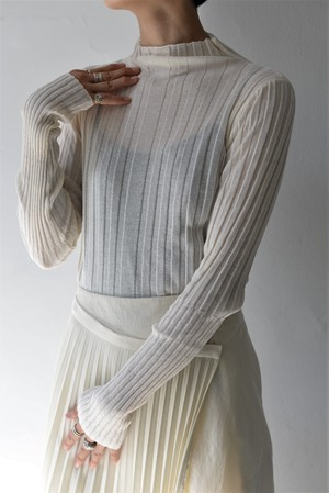 UNDECORATED /  CO SHEER RIB TOP (ivory)