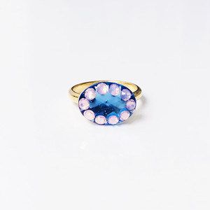 Dot Frame Ring -water blue-