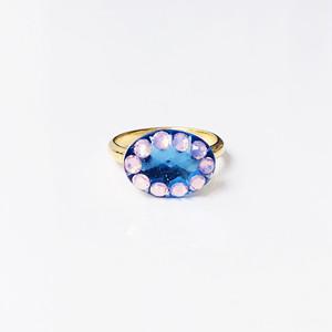 Dot Frame Ring -water blue-