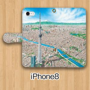 【受注生産】パノラマ「浅草」iPhone8用 手帳型ケース