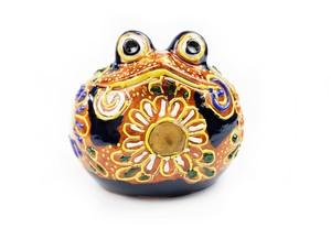 カエル置物 九谷焼 黒丸蛙 1.8号盛 ktymy18b-1909