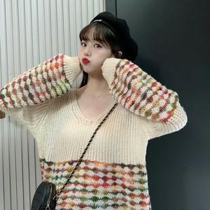 【トップス】レトロ気質良い着瘦せVネック切り替えセーター