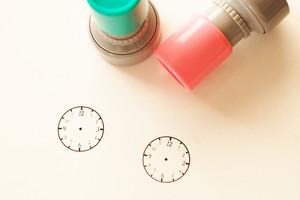 インクのいらない時計スタンプ 2.4センチ 手帳のタスクスケージュールや知育学習に◎