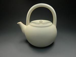 煎茶道具 ボーフラ 提梁式 白 保富良 湯沸し 白泥 素焼 新品
