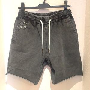 Cut Denim Shorts Bleach Black