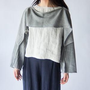 Vlas Blomme - Cotton Ramie × KL ショートボレロ&ポンチョジレ - Grey