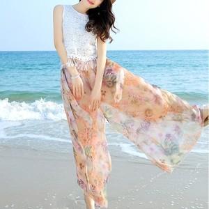 全3色 シフォンワイドパンツ 花柄 薄手 ゆったり リラックス カジュアル お出かけ デート 海 ビーチ リゾート
