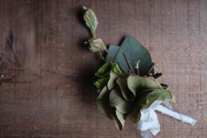 大きな花弁のアジサイコサージュ~ユーカリの実と共に