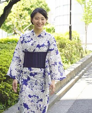 浴衣【夏の八重桜】菖蒲色