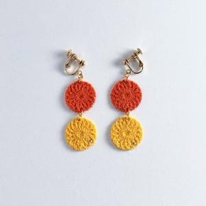 にこにこ オレンジ&イエロー[ピアス・イヤリング/刺繍糸/ロータス]