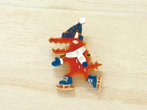 木製ブローチ/スケートオオカミ 068
