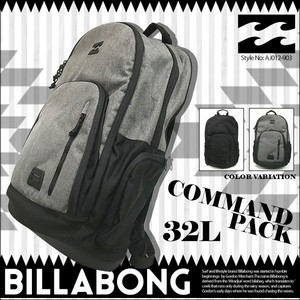 AJ012-903 ビラボン リュック メンズ デイパック 人気ブランド おすすめ 旅行 通勤 通学 学生 プレゼント A4サイズ 32L COMMAND PACK バッグ BILLABONG