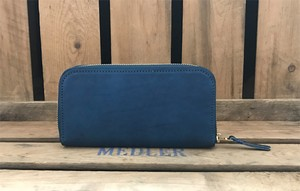 RE.ACT Solid Indigo Round Fastener Long Wallet