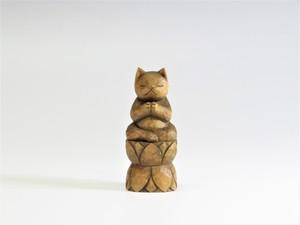 木彫り 合掌猫 蜜蝋仕上げ 猫仏1713