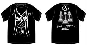 ハイパヨ×春風亭一之輔×PUNK DRUNKERS トリプルコラボTシャツ 黒橡(くろつるばみ)
