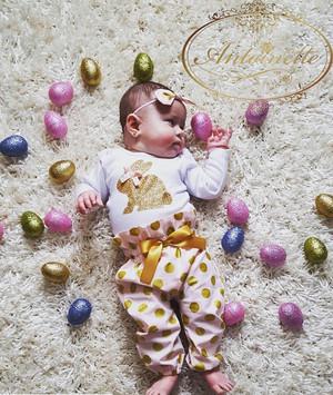kids baby happy easter イースター うさちゃん 赤ちゃん ロンパース セットアップ 3点セット 格安 かわいい ベビー服 かわいい