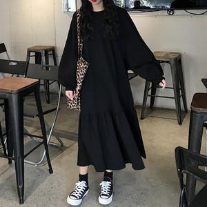 【ワンピース】長袖 ハイウエスト プルオーバー すね丈 カジュアルワンピース26656115
