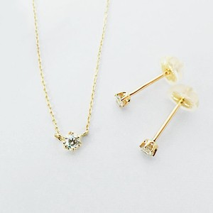 K18 小粒ダイヤのネックレス&ピアスセット 0.05ctx3pc
