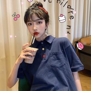 【ワンピース】レトロ無地春夏シンプルカジュアルボタン付きPOLOネックTシャツワンピース
