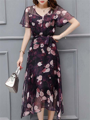 【dress】V-neck ribbon summer floral pattern dress