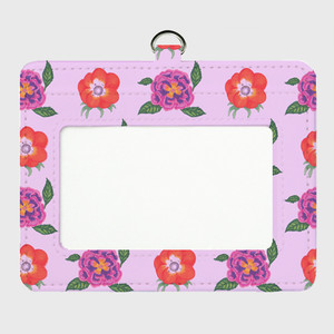 桃色お花のパスケース