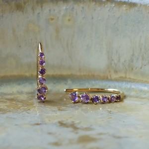 Meteor hook pierced earrings Amethyst