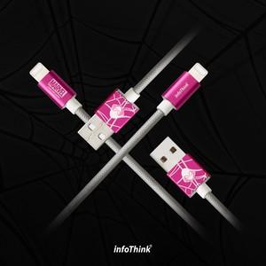 InfoThink USBケーブル MARVEL スパイダーマン:ホームカミング iPhone・iPad Lightningケーブル ライトニング 急速充電 高耐久ナイロン ピンク IT-LIGHTNING-100 (SP02)
