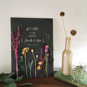 にょろにょろヴィンテージウェルカムボード│ドライフラワー 装花