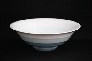 【井上康徳作】白磁青釉線菓子鉢