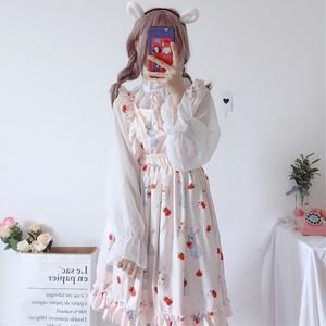 【セットアップ】2点セット日系可愛いシフォン長袖シャツ+少女フリルワンピース
