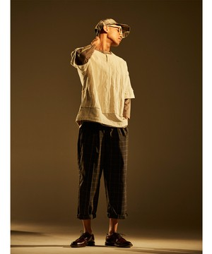 Belt Tuck Wide Pants Check -black check <LSD-BJ1P1>