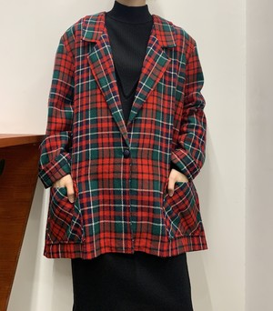 1980s MADE IN USA tartan check tailored jacket 【L位】
