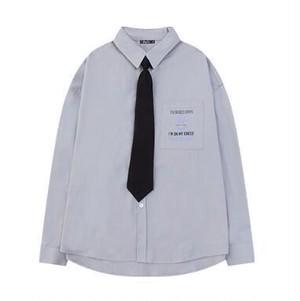 メンズおしゃれ長袖シャツ。ボウタイ付きロゴグレー/ブラック/ホワイト3カラー