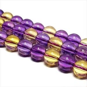 天然石 ビーズ アメトリン 紫黄水晶 連売り