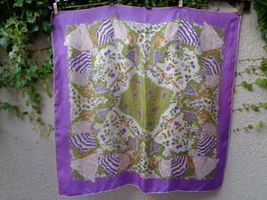Vintage scarf noble lady pattern ヴィンテージ スカーフ 貴婦人柄