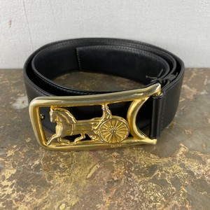 .CELINE CARRIAGE LOGO LEATHER BELT 70 MADE IN ITALY/セリーヌ馬車ロゴレザーベルト 2000000043692