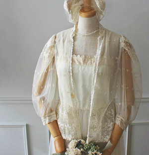 Vintage 刺繍レースのセットアップドレス(訳あり)
