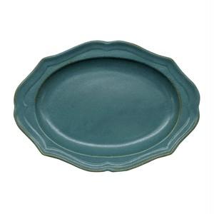 美濃焼 一洋陶園 カードル cadre 楕円 皿 プレート 約25×18cm 緑 ブロンズ 513-0030