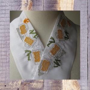 刺繍半衿・ポリ絽・ビールと枝豆